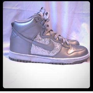 Silver Nike dunk high-top